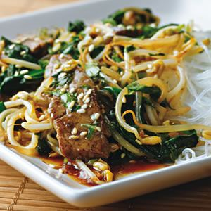 Korean Beef Stir-fry  Inspired by the flavors found in Korean barbecue, this dish is a mouth-watering addition to any weeknight repertoire. A fruity Riesling and rice noodles are perfect accompaniments.