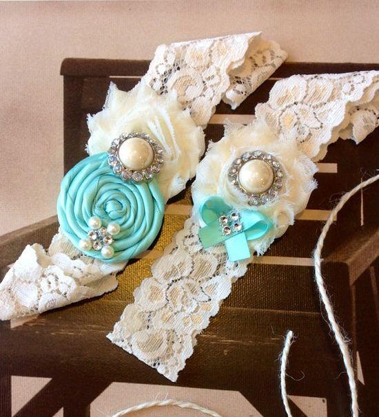 Tiffany blue wedding garter set  / bridal  by FallenStarCoutureInc, $24.99