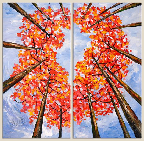 fall trees-make brown tree trunks on paper with penciled in areas for them to put colored fingerprint leaves around. Add blue around the outside and add some branches when dry. Put two pictures together for neat perspective.