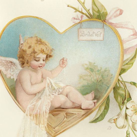 Cherub sewing bridal veil