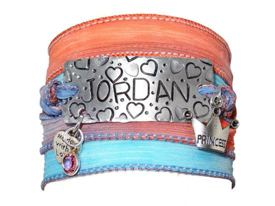 Silk Wrap Bracelet with Name Hand Stamped  by CharmedUp on Etsy, $20.00