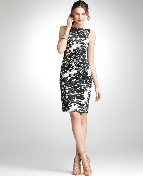 Ann Taylor Cotton Waterspot Print Sheath: Maybe this would work for a late summer wedding. #Ann_Taylor #Dress