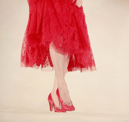 Beautiful rhinestone-trimmed red satin pumps and a marching ruby hued lace skirt. #shoes #vintage #1950s #fashion