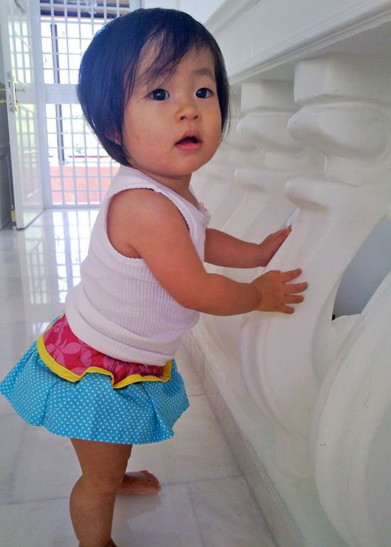 Cute baby and cute skirt!