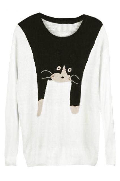 Romwe Cute Cat Crochet Long-sleeved White Jumper