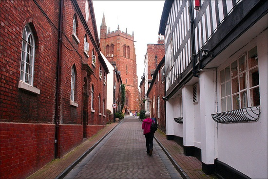 Looking up Church Street in Bridgnorth, Shropshire towards St Leonard's Church which stands at the highest point of the town.