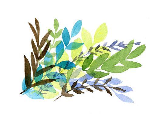 Foliage art Print of Original  watercolor por TheJoyofColor en Etsy, $21.00