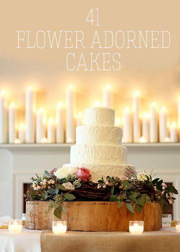 Flower adorned #wedding cakes I Mary Rosenbaum Photography
