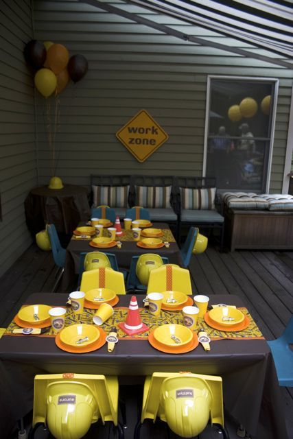 Construction Party table settings