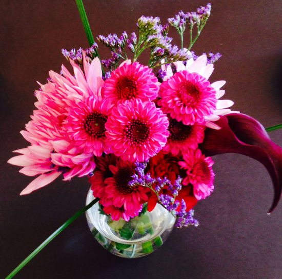 small, low, flower arrangements