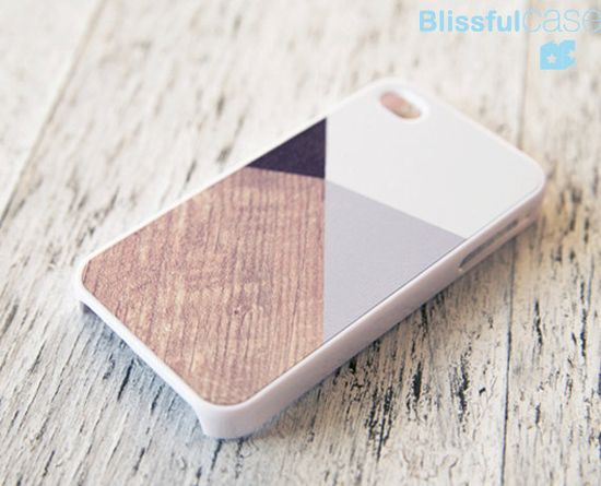 iphone 4 case - grey color block with printed wood. $14.99, via Etsy.