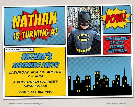 Comic Invitation Super Hero Invite  Birthday by motherducksaid, $17.00