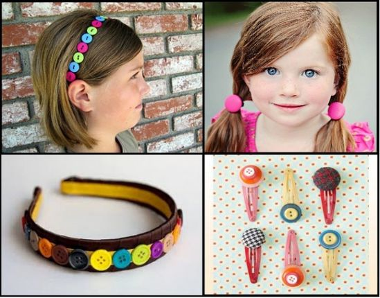 DIY: Accessories With Old Buttons, Hair accessories