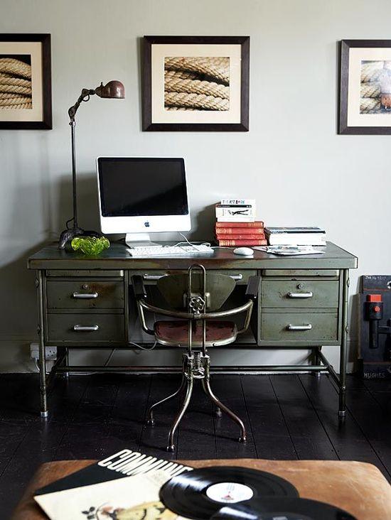 vintage metal desk via Design Elements