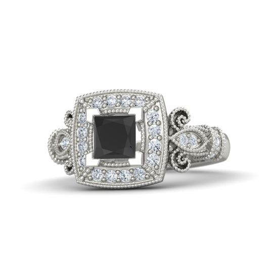 Princess Black Diamond Palladium Ring with Diamond