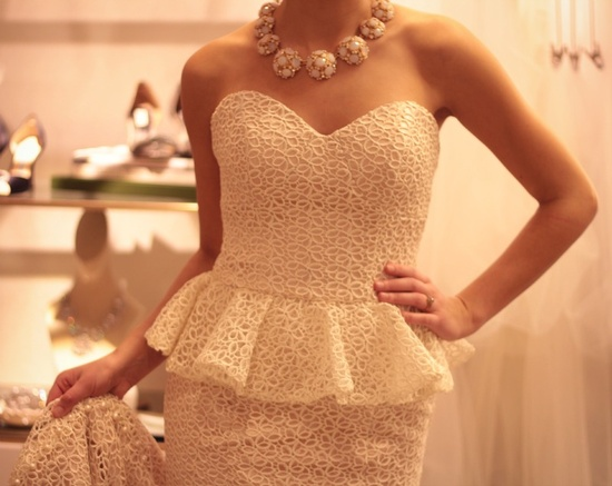 Pretty in peplum! Gown by Olia Zavozina, new to select in-store Wedding Suites