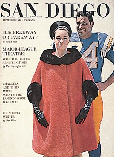 FALL FASHION & NEW FOOTBALL UNIFORMS, September 1966: Here, offensive tackle Ron Mix wears the new blue-and-yellow uniform.