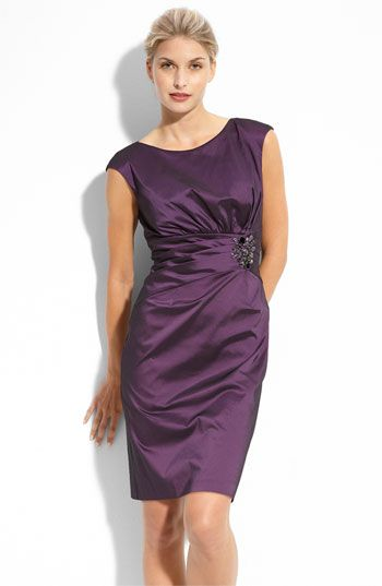 Eliza J Beaded Stretch Taffeta Sheath Dress