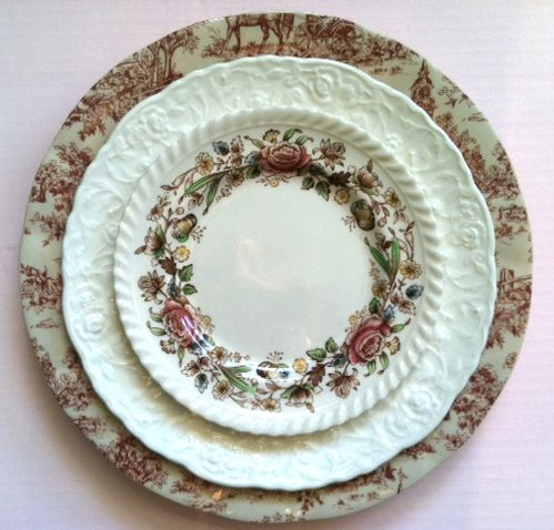 shabby chic vintage mismatched china rental for weddings