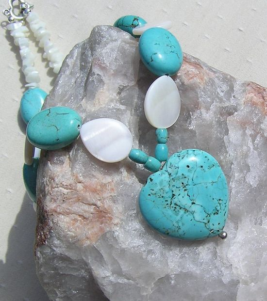 Turquoise Heart & White Mother of Pearl Necklace  by SunnyCrystals, £20.00