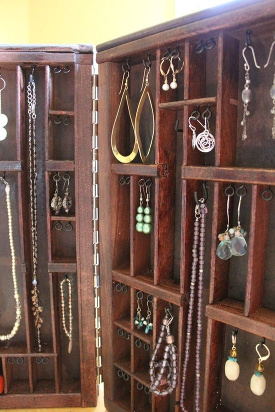 another printer's box jewelry display -- 2 type set cases have been hinged together with a latch for portable storage & display - etsy $118 - Love this!
