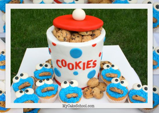 cookie jar cake with cookie monster cupcakes