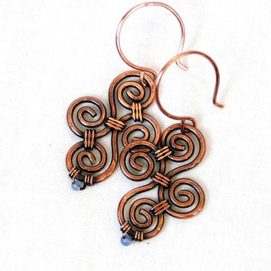 Periwinkle Agate Wire Wrapped Jewelry Modern by KariLuJewelry, #wirework