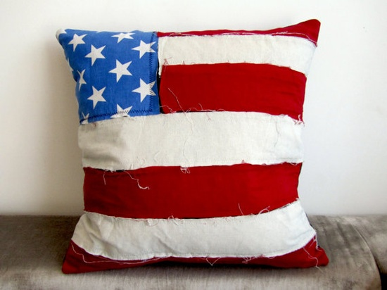 Unique USA Flag Cushion by Gorgeoustuff on Etsy, $49.00