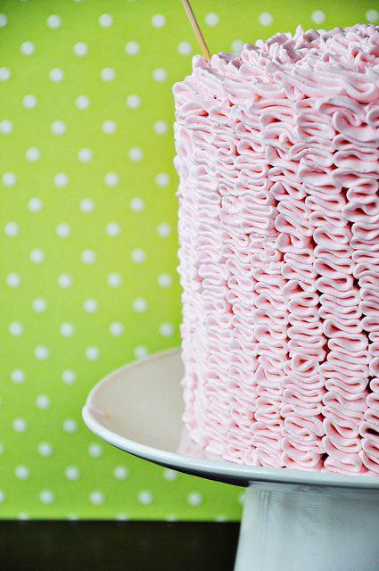 Strawberry Champagne Ruffle Cake by cooklikeachampion: Strawberry cake with champagne buttercream! #Cake #Strawberry #Champagne
