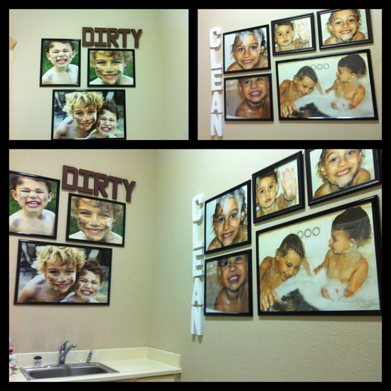 Laundry Room Decor- Take pics of kids dirty & then pics of them clean