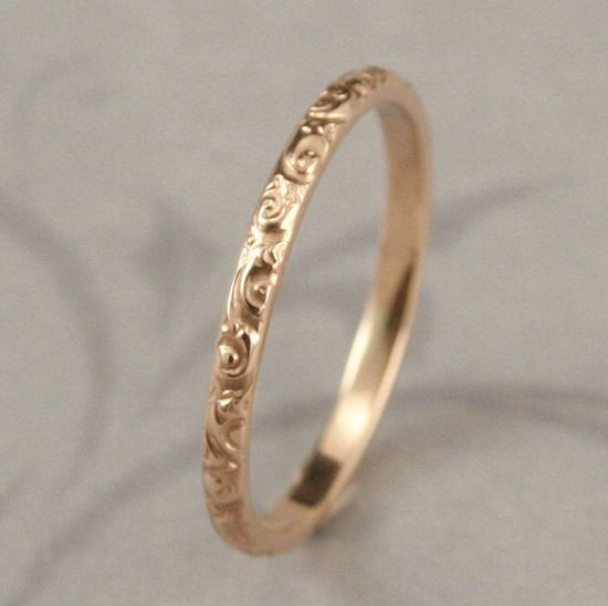 Solid 14K Yellow Gold Rococo in the Disco Wedding Band--Solid 14K Gold Swirl Patterned Ring Custom made in YOUR Size. $185.00, via Etsy.  GORGEOUS.