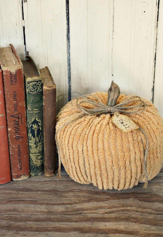 Fabric Pumpkin - Vintage Chenille. #fall #autumn #Thanksgiving #Halloween