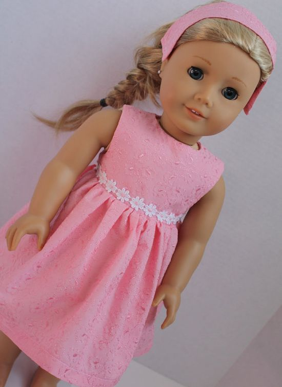 American Girl Doll Clothes  Pink Dress with Flowered by alldolldup, $12.00