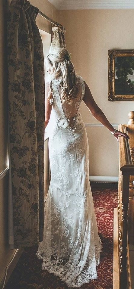 Real bride Caoimhe in the Claire Pettibone 'Laurence' wedding dress www.clairepettibo...