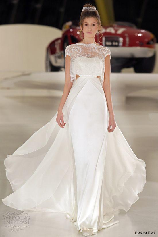 eme di eme 2014 meda wedding dress cutout cap sleeve top