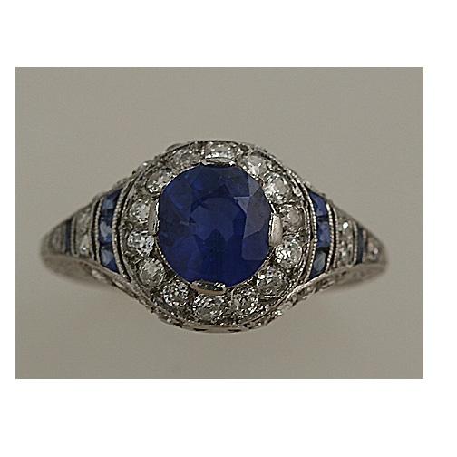 Art Deco. Sapphire and Diamond Ring.