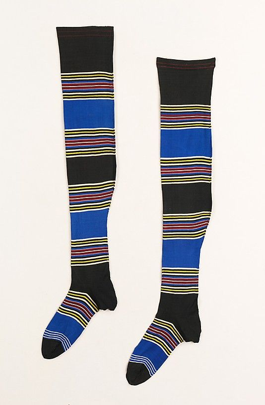 Striped silk stockings appropriate for cycling and other sports of the day 1880-99