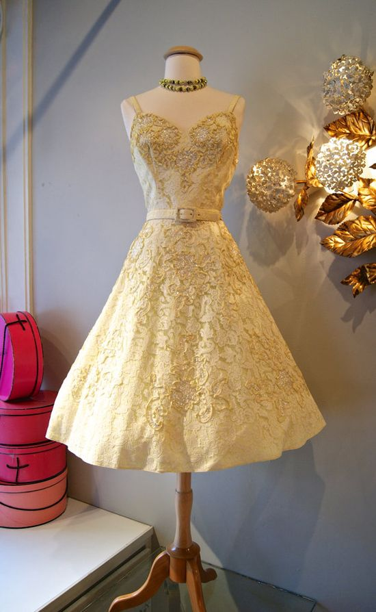 50s Dress // Vintage 1950's Yellow Sequined Party by xtabayvintage, $298.00