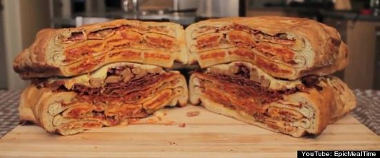 Ultimate Pizza Sandwich.  As always, watch the new video from the Epic Meal Time guys at your own risk.