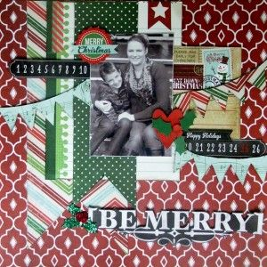 Be Merry Scrapbook Page by @Michelle Flynn Carman for #ScrapbookAdhesivesby3L and @SIMPLE Comunicación Stories Blog Hop #Christmas #holiday #scrapbook #adhesives