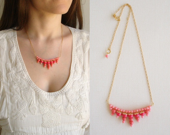 Pink Necklace, Beaded Necklace,
