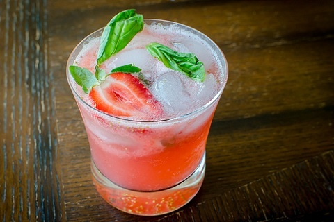 Strawberry Basil Mojitos from Pink Parsley