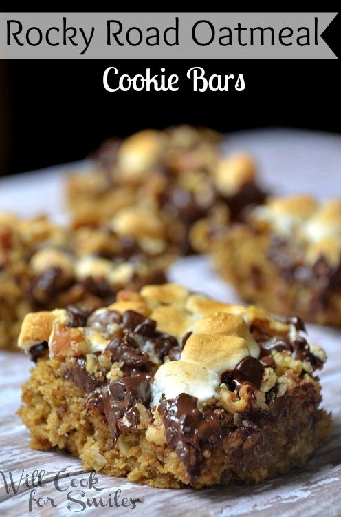 Rocky Road Oatmeal Cookie Bars, oatmeal cookie bar topped with walnuts, chocolate chips and marshmallows, recipe from willcookforsmiles...