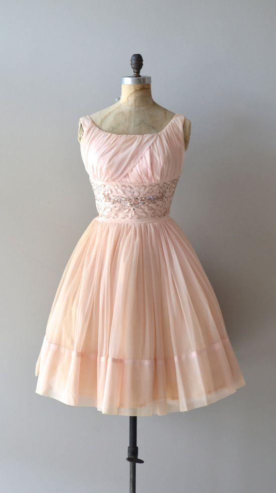 Early 1960's Chiffon Dress with Beaded Waist