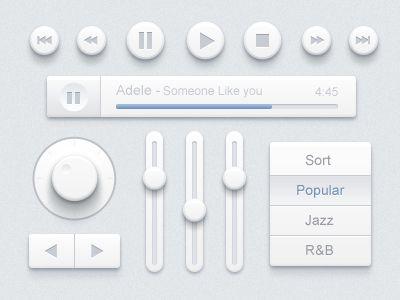 Music UI Design kit found on Dribbble.