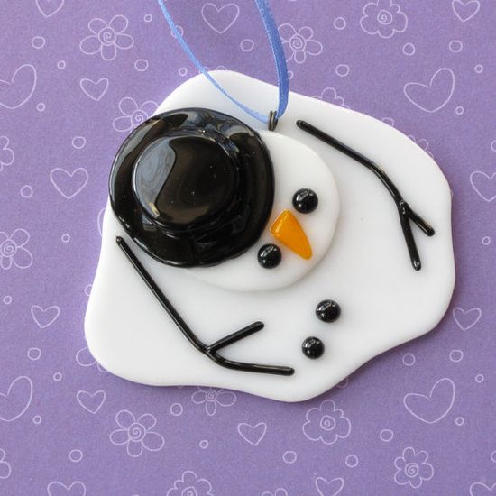 034  Christmas ornament Melted Snowman by nivenglassoriginals, $10.00