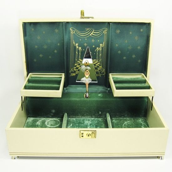 vintage ballerina musical jewelry box with pretty emerald green velvet.  such a magical place to keep your gems.