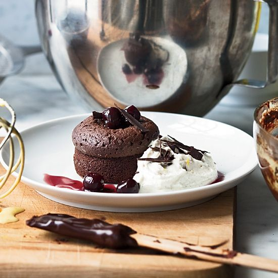 Warm Chocolate Cakes with Mascarpone Cream // More Fantastic Quick Desserts: www.foodandwine.c... #foodandwine