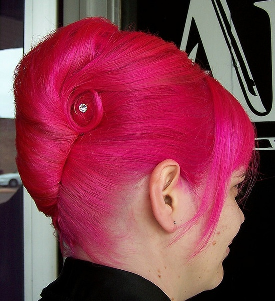 A friend's gorgeous up do for her wedding - fuschia pink hair with a diamente in the the swirl.