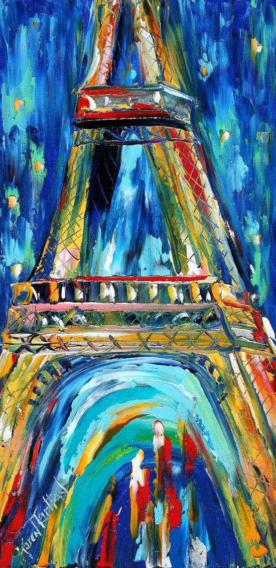 Paris Eiffel Tower NIght Cityscape Original oil by Karensfineart